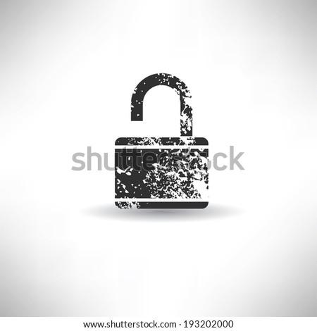 Lock symbol,grunge vector - stock vector