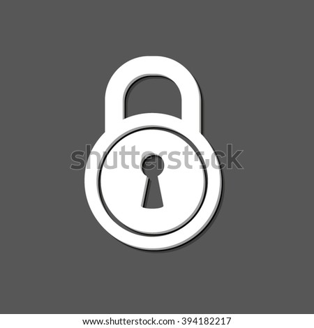 lock - white vector icon  with shadow