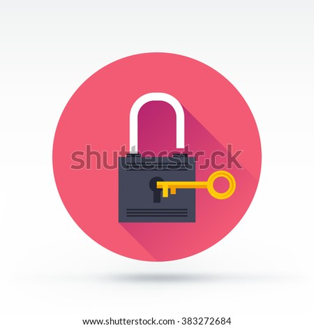 Lock with key flat vector icon. Security and privacy illustration with long shadow and background. - stock vector