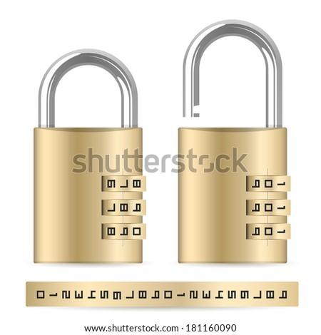 Locked and unlocked combination padlocks - stock vector