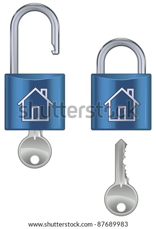 Locked and unlocked housing marked pad lock with key isolated on white background - vector - stock vector