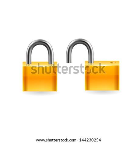 Locked and unlocked lock Icon. Vector - stock vector