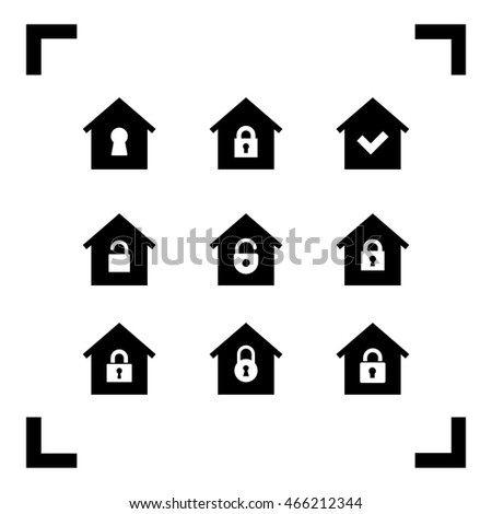Locked house icons. Security sign.