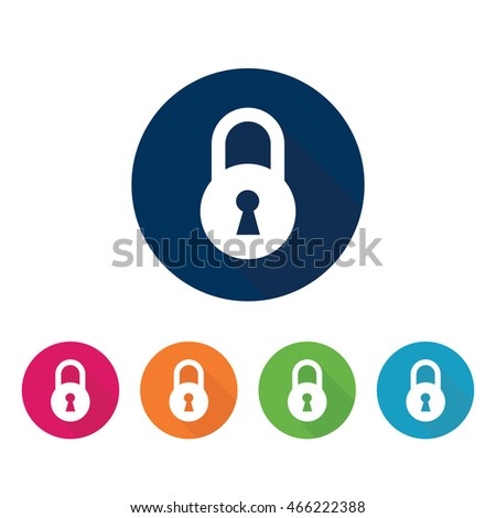 Locked icon Vector sign set in various colors.