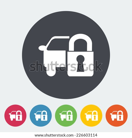 Locking car doors. Single flat icon on the circle. Vector illustration. - stock vector