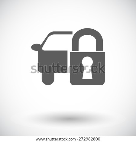 Locking car doors. Single flat icon on white background. Vector illustration. - stock vector