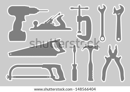Locksmith and Carpentry Tool Set: (from left to right, from top to down): electric drill/screwdriver, jack-plane, clamp, wrench, adjustable wrench, handsaw, hacksaw, screwdriver, hammer, pliers - stock vector