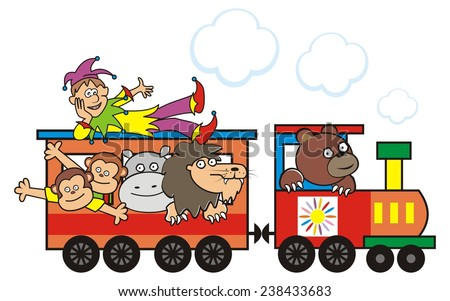 locomotive and animals, vector illustration