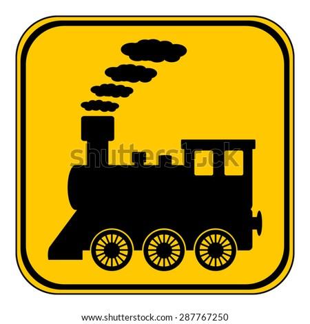 Locomotive button on white background. Vector illustration. - stock vector