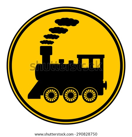 Locomotive button on white background. Vector illustration. - stock vector