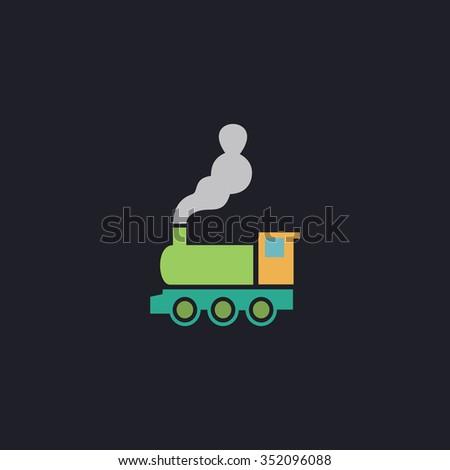 locomotive Color vector icon on dark background - stock vector