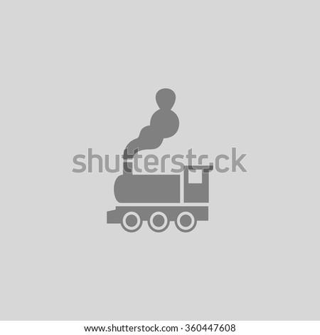 locomotive - Grey flat icon on gray background - stock vector