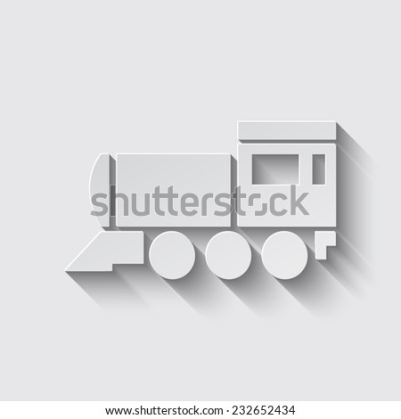 Locomotive icon . Vector illustration. with shadow on a grey background - stock vector