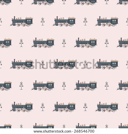 locomotive pattern - stock vector