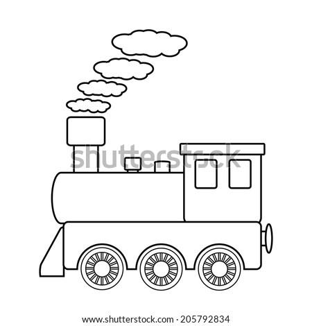 Locomotive sign on white background. Vector illustration. - stock vector