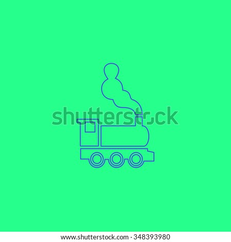 locomotive Simple outline vector icon on green background  - stock vector