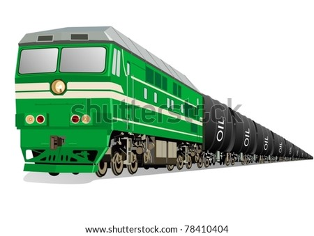 Locomotive with oil tankers to transport petroleum products.