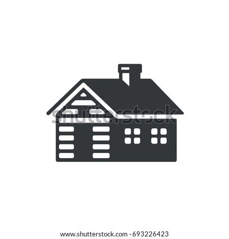 Log Cabin Simple Icon Or Logo Vintage Wooden Cottage Vector Illustration