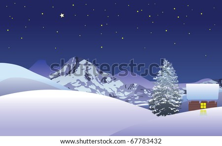 Log house in snowy mountains at night vector image - stock vector