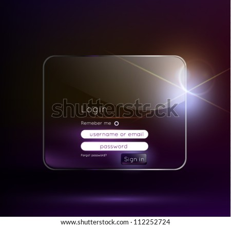 Log in  page / Glass UI / Vector illustration - stock vector