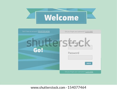 Log In Screen - stock vector