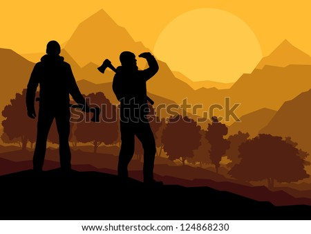 Loggers with axes in wild mountain forest nature landscape background illustration vector