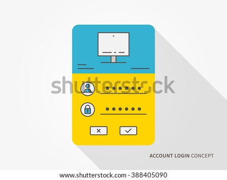 Login access webpage vector illustration. Sign up (log in, sign in) interface technology creative concept. Registration, submit form (frame, box) graphic design. - stock vector