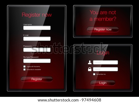 Login and register glossy web forms - vector file - stock vector