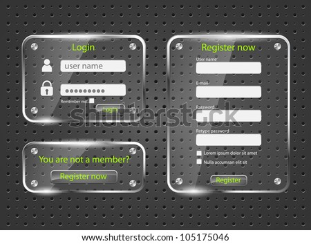 Login and register web glossy screens-vector