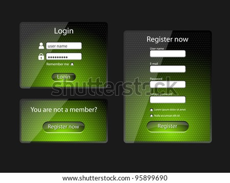 Login and register web screens, green version-vector - stock vector