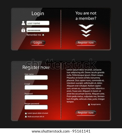 Login and register web screens-vector - stock vector