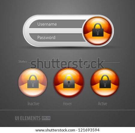 Login and registration web ui form window rounded - stock vector
