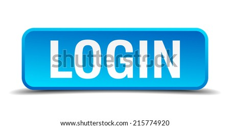 Login blue 3d realistic square isolated button - stock vector