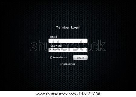 Login form page with metal cell background - stock vector