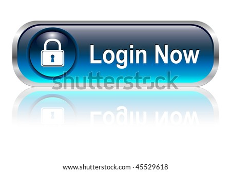 Login icon, button, blue glossy with shadow, vector illustration - stock vector