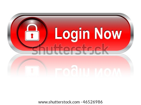 Login icon, button, red glossy with shadow, vector illustration