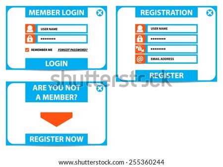 Login, Register - vector - stock vector