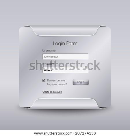 Login web window on silver background. - stock vector