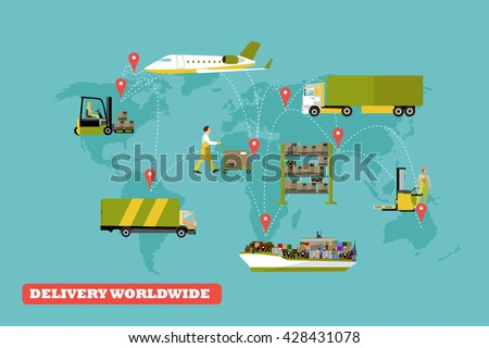 Logistic and delivery concept vector illustration. Set of air, trucks and ships transport delivery and shipping. - stock vector