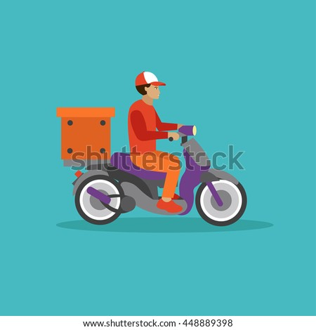 Logistic and delivery courier service concept banner. Warehouse workers. Vector illustration in flat style design. Delivery man on a scooter shipping food orders. - stock vector