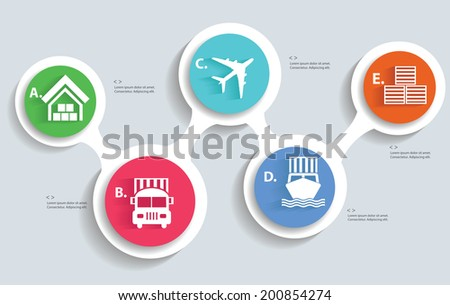 Logistic and transport info graphics design,vector - stock vector