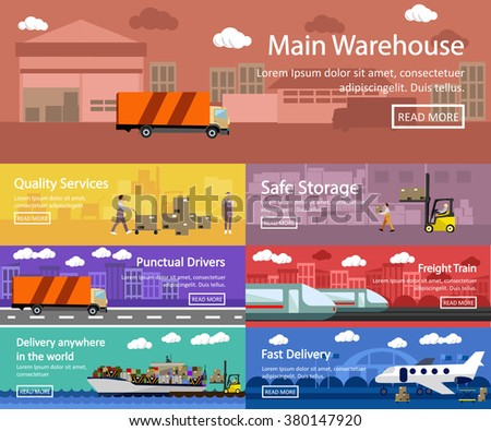 Logistic and transportation concept flat banners. Vector set of truck, ship, train and air transport delivery and shipping. Warehouse service. - stock vector