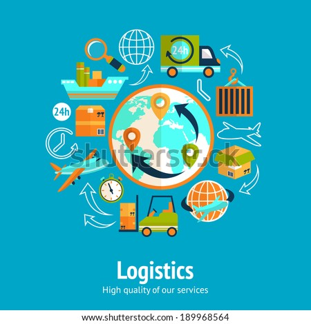 Logistic chain concept with globe and shipping freight service supply delivery icons vector illustration - stock vector