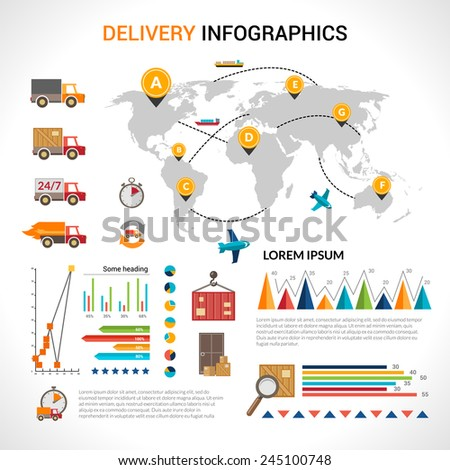 Logistic chain shipping freight service supply delivery infographics set with charts and world map vector illustration - stock vector