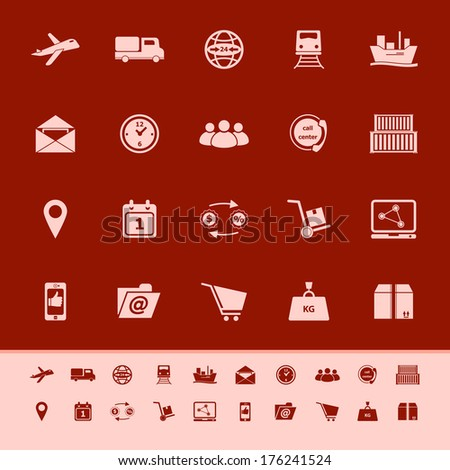 Logistic color icons on red background, stock vector