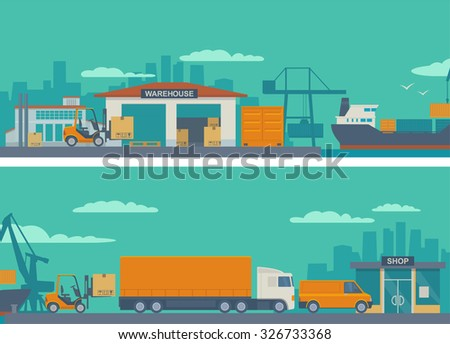 Logistic concept flat banner production process from factory to the shop. Warehouse, ship, truck, car. Wide panoramic vector illustration for business, info graphic, web, presentations, advertising. - stock vector