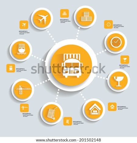 Logistic concept info graphics,yellow vector - stock vector