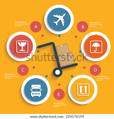 Logistic concept on yellow background,clean vector - stock vector