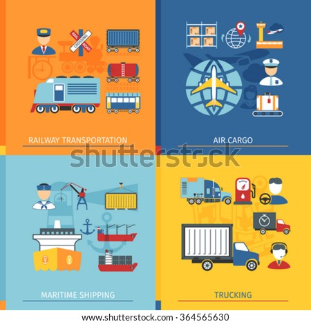 Logistic Concept Set With Icons In Flat Style. Railway, Air cargo And Shipping Elements - stock vector