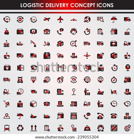 Logistic delivery red icon set - stock vector